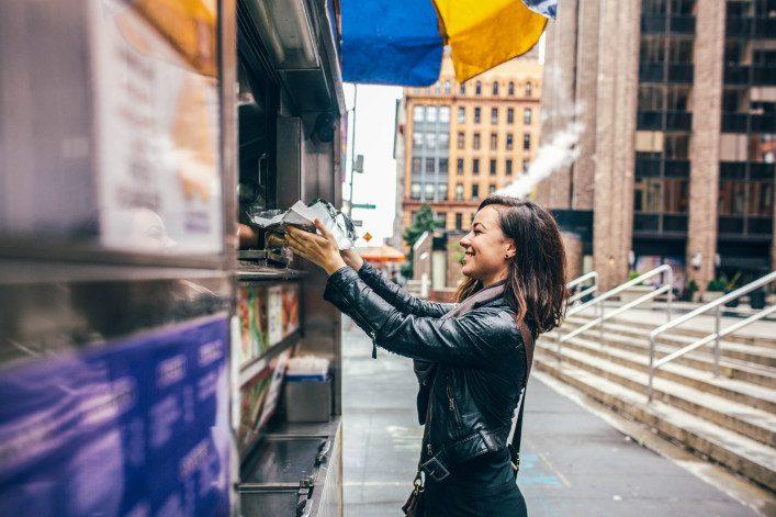 New York Food Cart Customer
