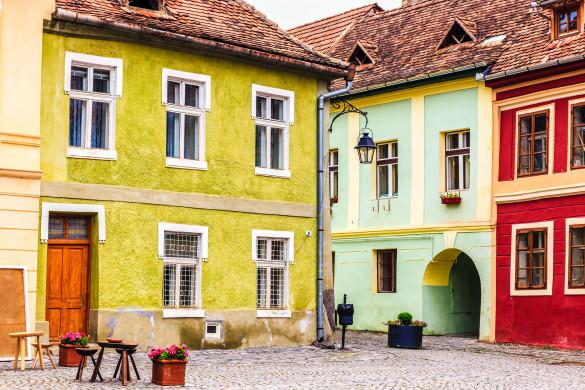 Schäßburg Rumänien Hof bunte Häuser