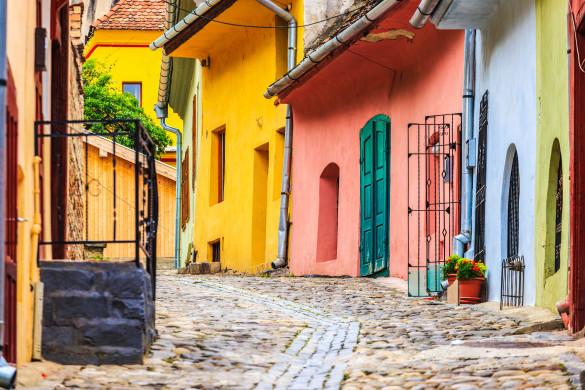 Schäßburg Rumänien bunte Häuser