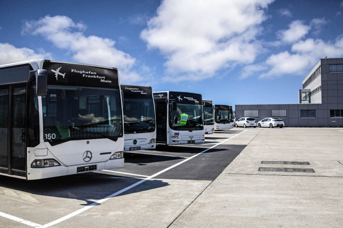 Bus garage with shuttle buses at Frankfurt Airport