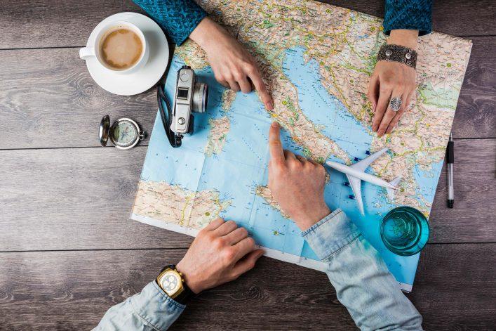 couple planning honeymoon