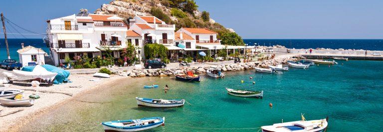 Scene in Kokkari on Samos, Greece