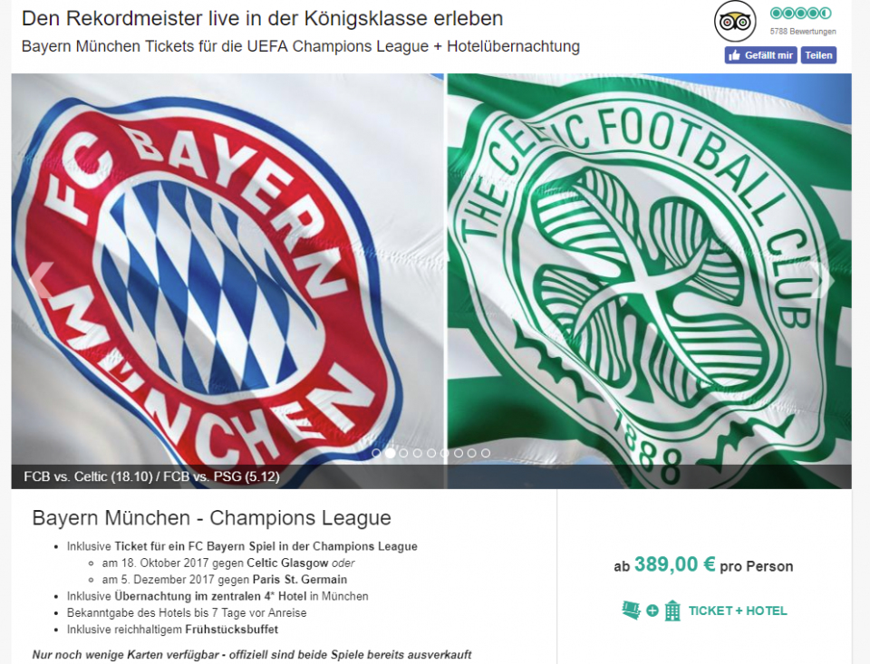 Fc Bayern Munchen Tickets Mit Ubernachtung Verein Bild Idee