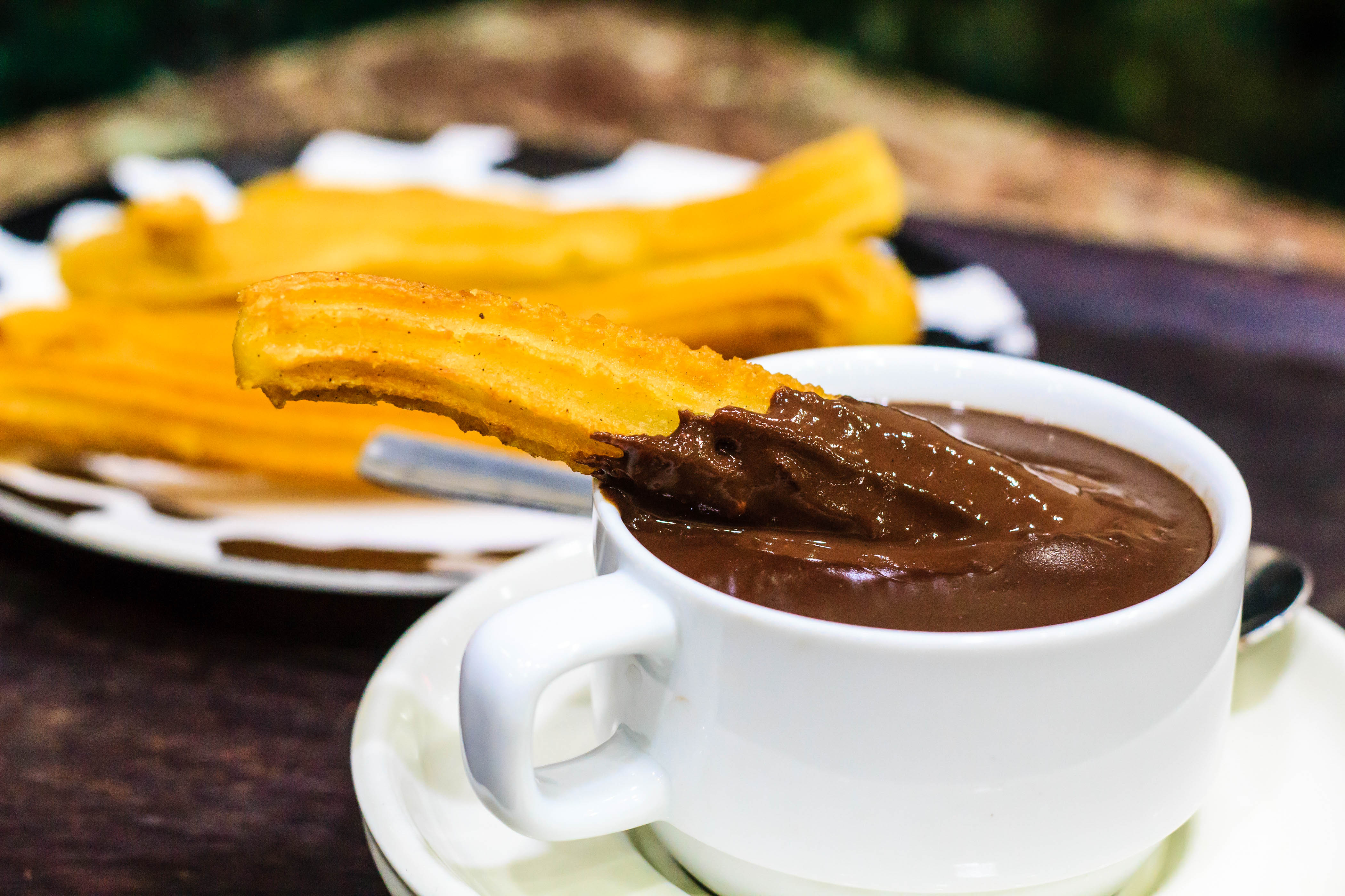 Typical Spanish sweet snack- churros with hot chocolate