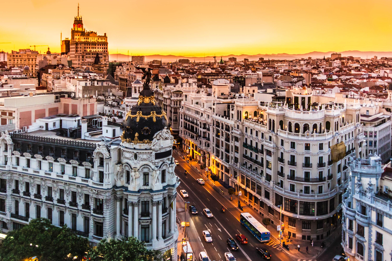 Panoramic aerial view of Gran Via, main shopping street in Madrid, capital of Spain, Europe.Panoramic aerial view of Gran Via, main shopping street in Madrid, capital of Spain, Europe.