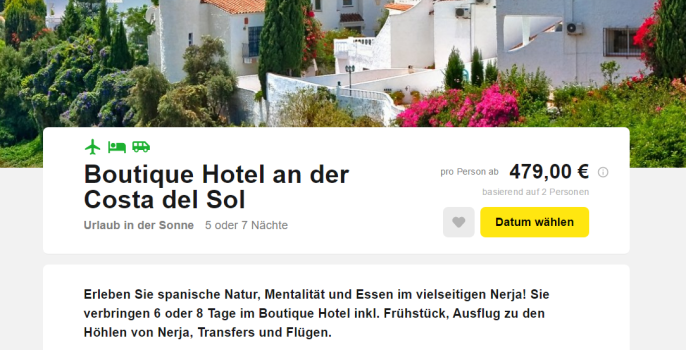 6 tage costa del sol hotel flug transfer fr hst ck 479 for Boutique hotel pauschalreise
