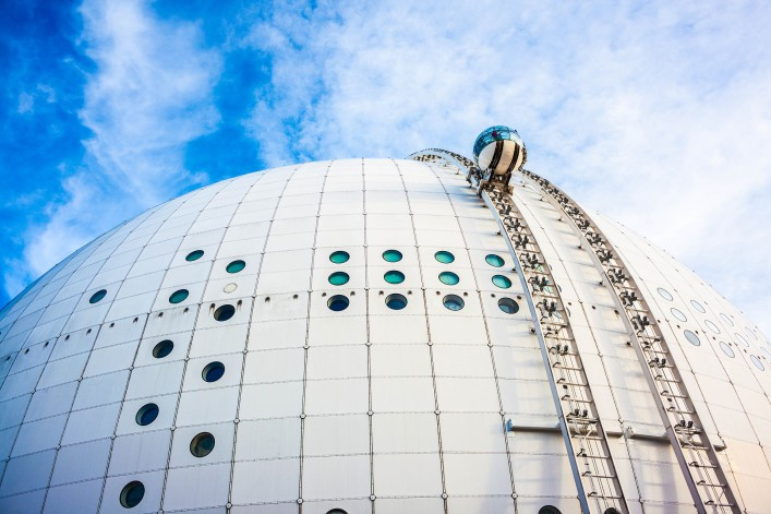 Stockholm Globe arena, or Ericsson Globe, the biggest spherical building in the world.