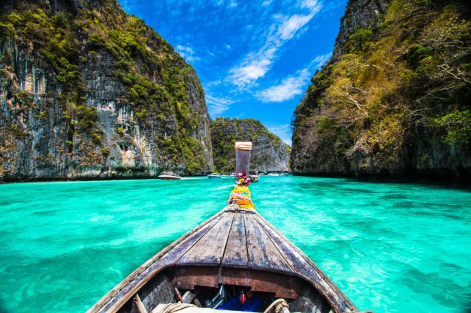Wooden boat on Phi-Phi island, Thailand.