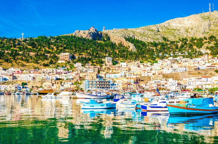 Colorful boats in small port on Greek Island, Greece