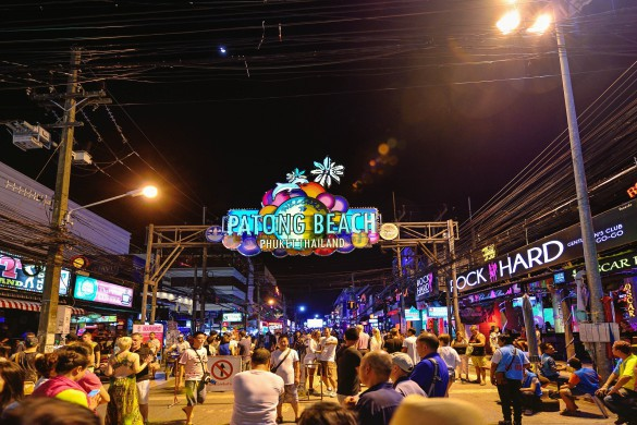 Patong, Phuket Province, Thailand - December 19, 2015: Patong bar street sign in night. here is the most famous the nightlife hotspot in the Phuket island.