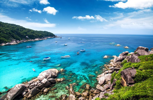 Similan islands. Beautiful bay in lovely summer day