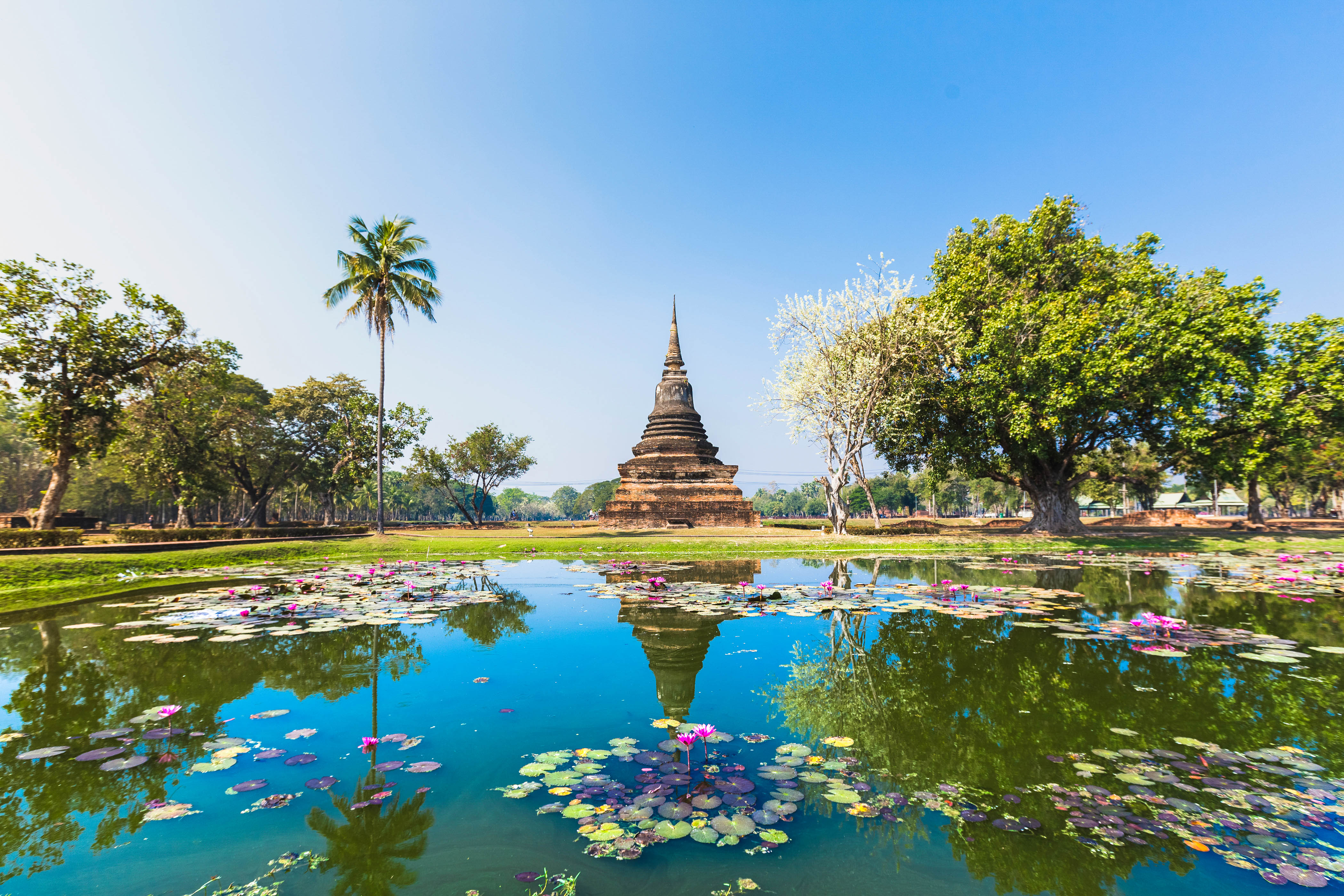Wat Mahathat, view of Stupa in Sukhothai temple