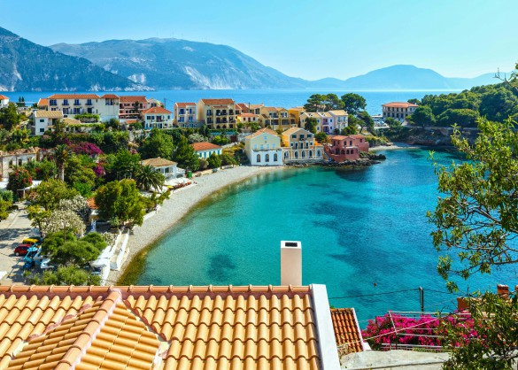 Summer sea view of Assos village (Greece, Kefalonia, Ionian Sea).