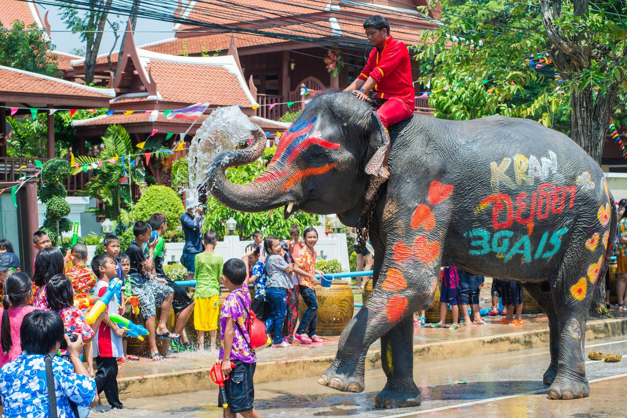 Mann sitzt auf einem bunt bemalten Elefant, Kinder spritzen mit Wasser.