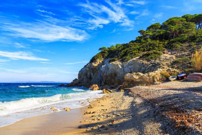 Elba island, Portoferraio Sansone Sorgente beach coast. Tuscany,