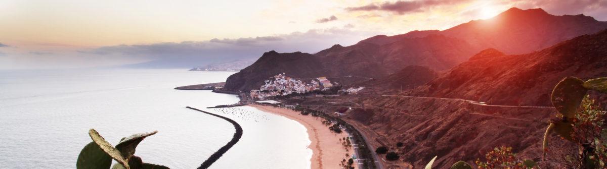 Sunset at Playa de Las Teresitas in Tenerife, Canary Islands