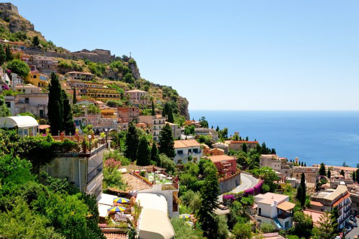 Aerial view of Taormina in Castelmola, Sicily