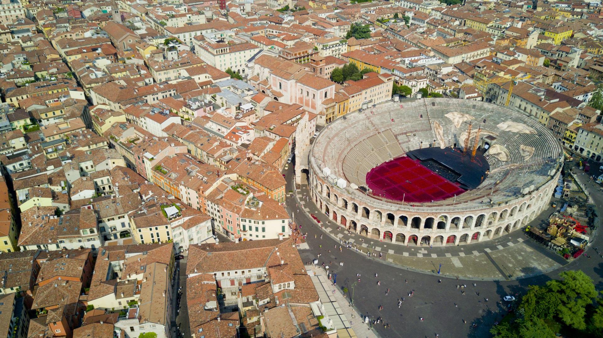 Verona und die Arena von Oben
