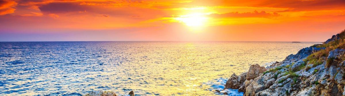 Rocky coastline with magical sunrise,Rovinj,Istria shutterstock_293831582-2