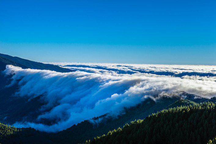 Clouds Cascade at Sunrise, La Palma