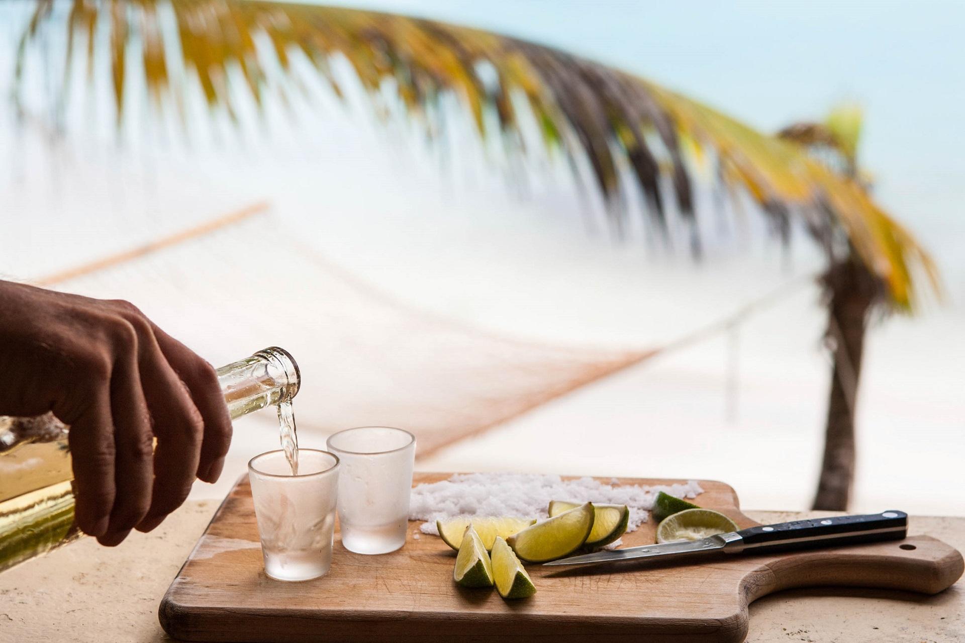 Französische Karibikinseln Drink, Beach