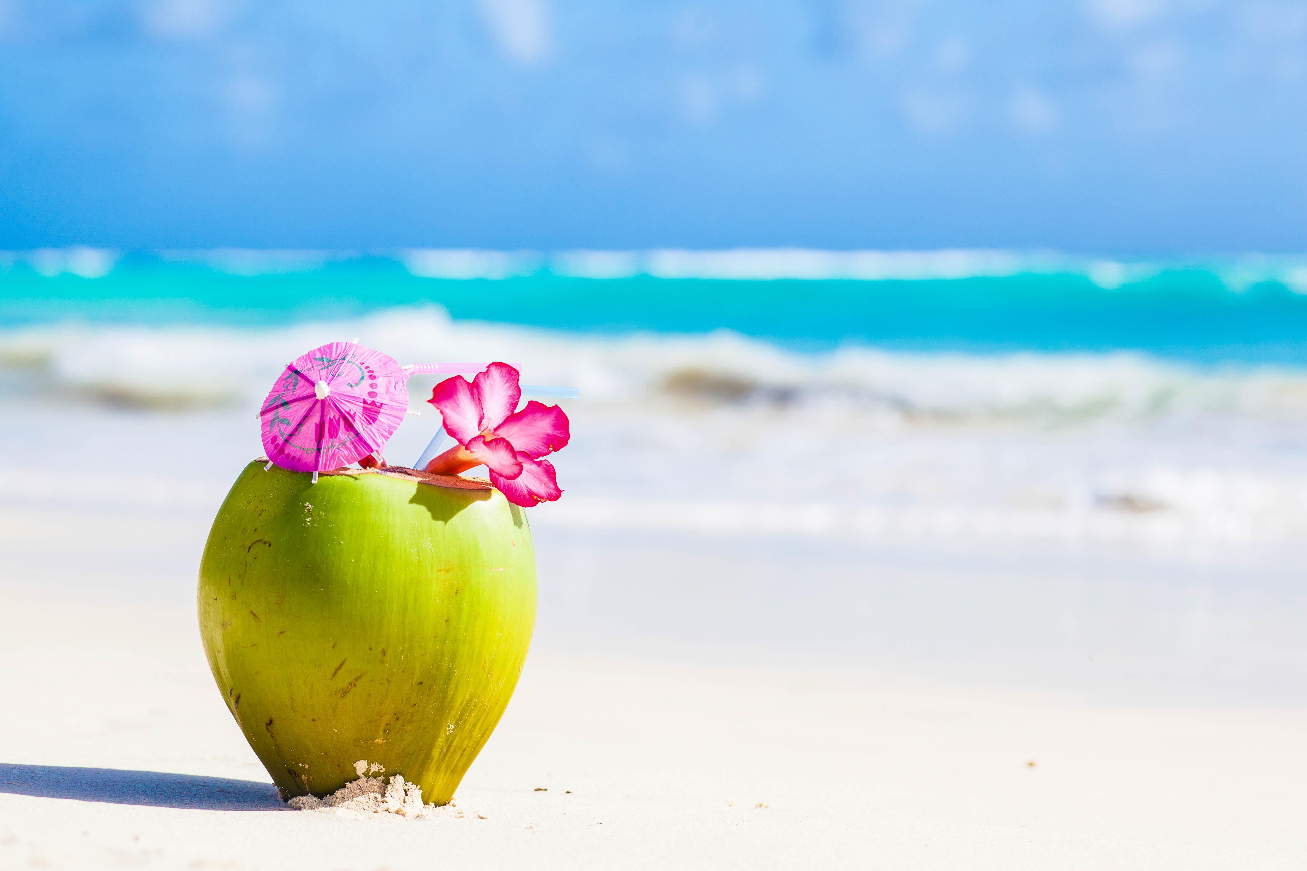 Barbados, Coconut Drink, Beach