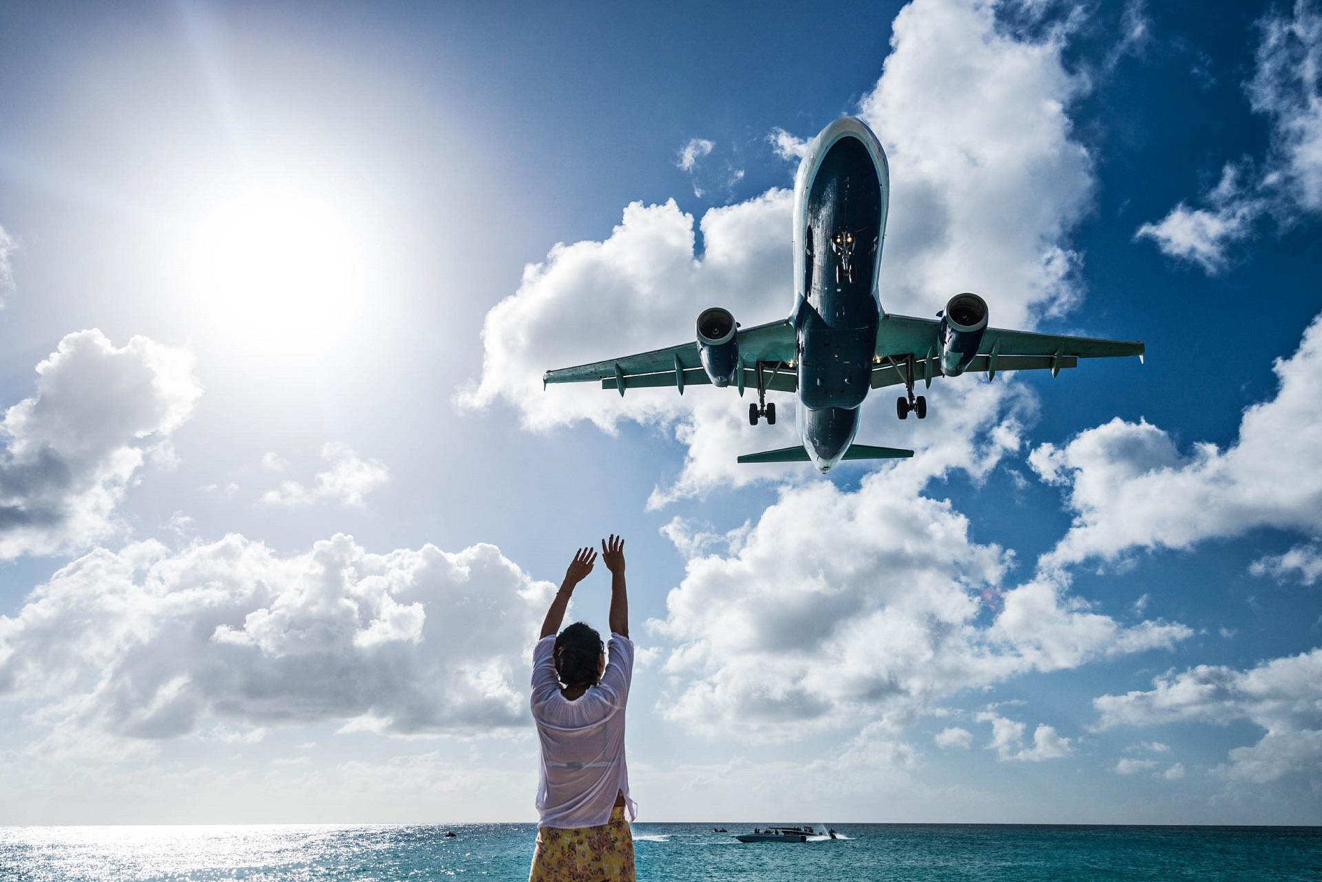Französische Karibikinseln Landeanflug, Flugzeug