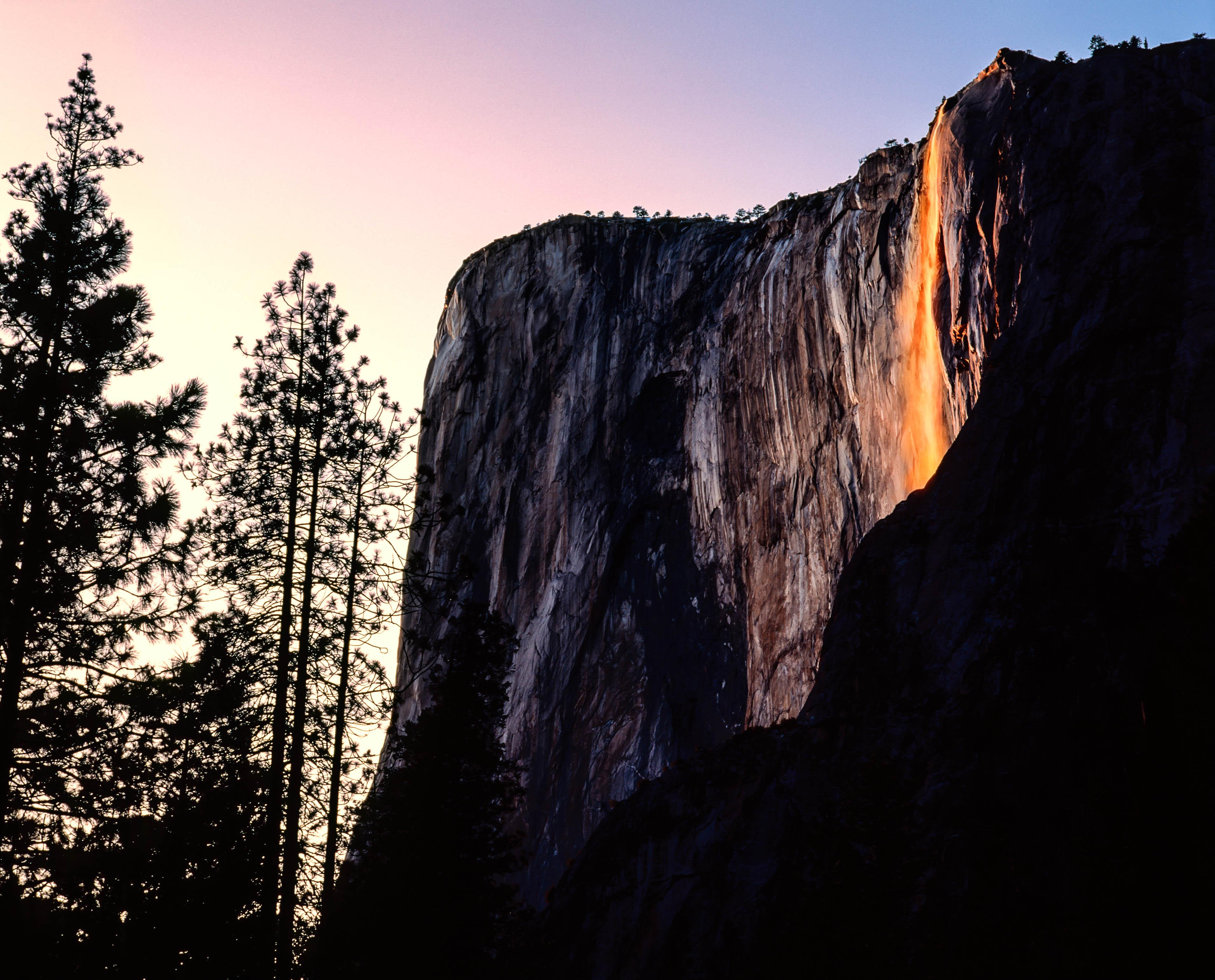 Fire Falls Horstail Falls Yosemite Park USA