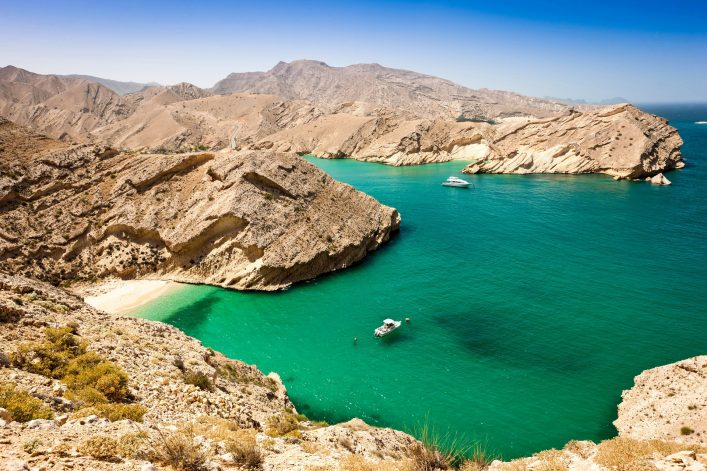 Beautiful Oman Coast Green Lagoon with Hidden Beach