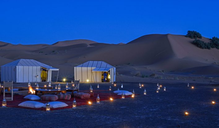 Desert camp at night