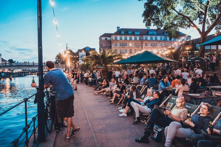Bar scene at spree river at Berlin