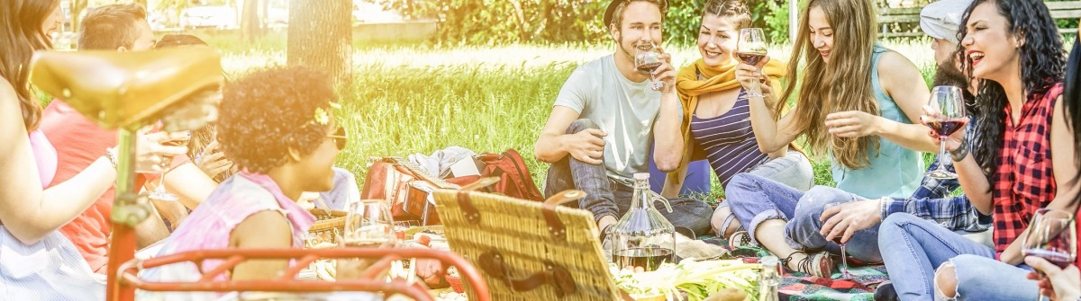Diverse culture friends making picnic on city park outdoor – Young trendy people eating dinner in backyard outside – Focus on african hair girl – Youth and friendship concept – Vintage retro filter