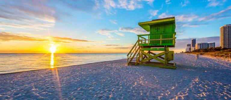 Famous Miami South Beach sunrise