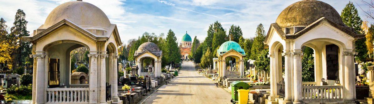 Mirogoj cemetery walkway gardens of Zagreb