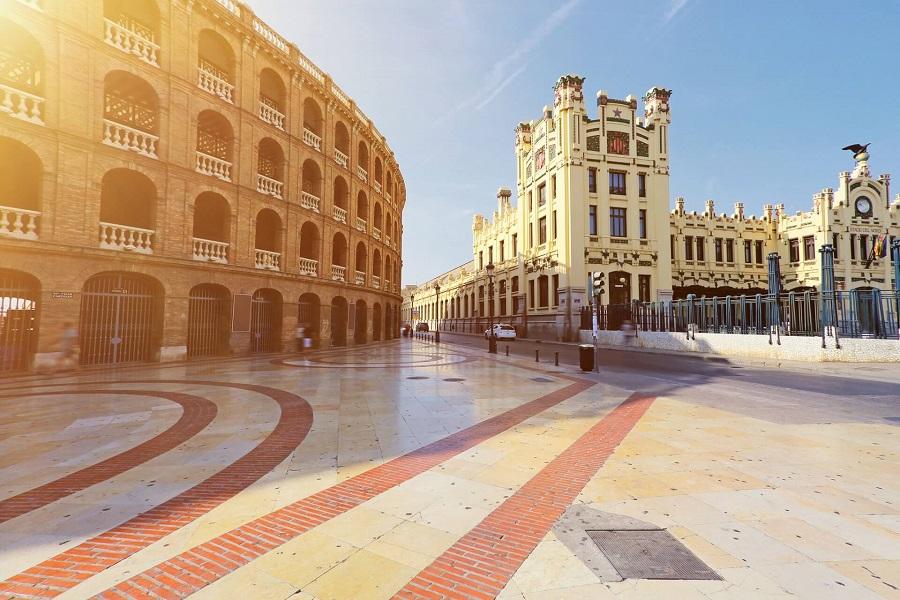 Die Stiefkampfarena am Plaza de Toros in Valencia, Spanien