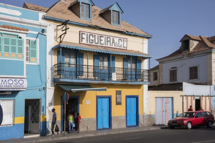 Colonial homes in Mindelo , Cape Verde