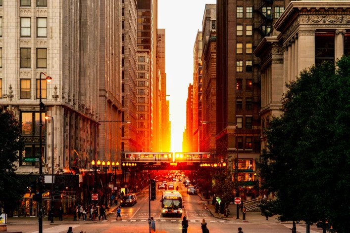 Chicago Magnificent Mile Sunset