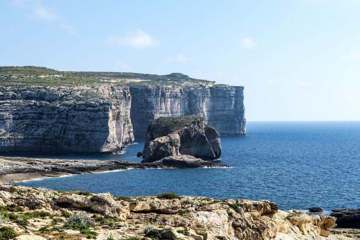 White cliffs at the coast of Gozo Island horizontal