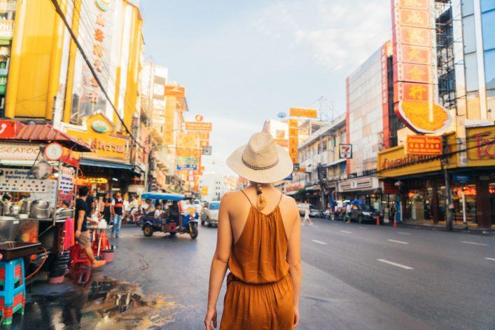 Woman walking in Chianatown