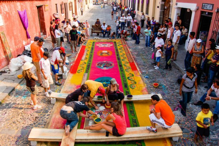 Group making Holy Week carpet, Antigua, Guatemala