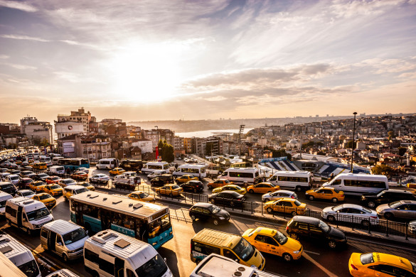 Heavy Evening Traffic in Istanbul, Turkey