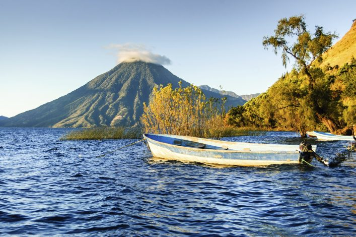 San Pedro Volcano on Lake Atitlan in Guatemalan highlands