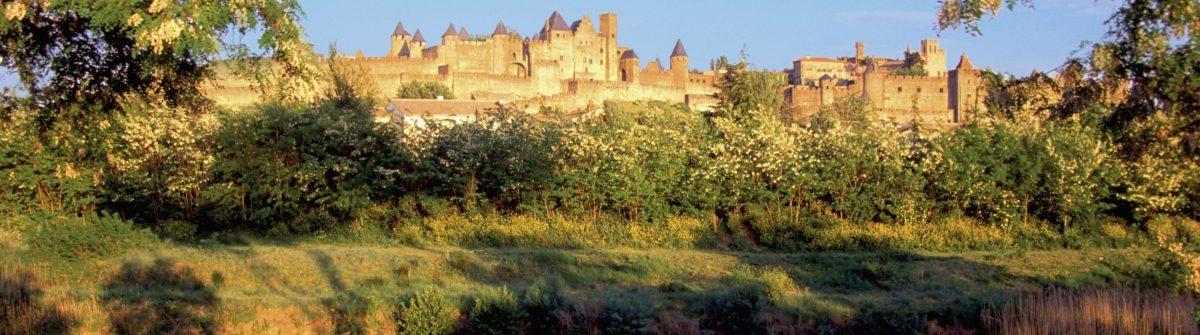 Facade of the Chateau De Carcassonne Castle, Carcassonne, France