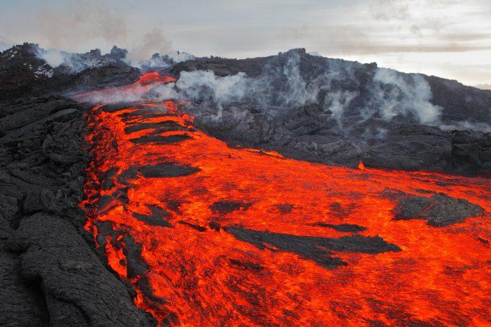 The eruption, lava, Kamchatka volcano