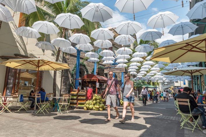 Regenschirme in der Hauptstadt von Mauritius, Port Louis