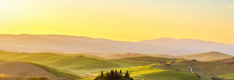 Bauernhaus der Toskana Sonnenaufgang Panorama