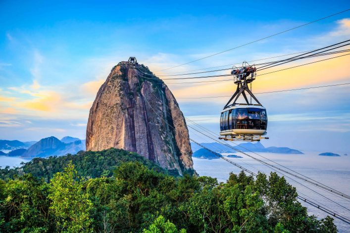 Der Zuckerhut mit Seilbahn in Rio de Janeiro