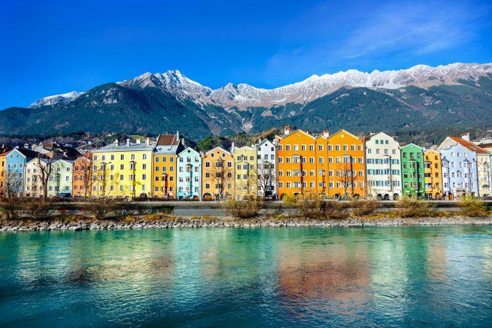 Bunte Häuser in Innsbruck.