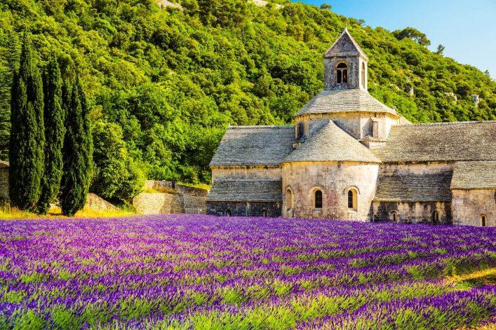 Lavendelfelder in der Provence: Kloster von Sénanque