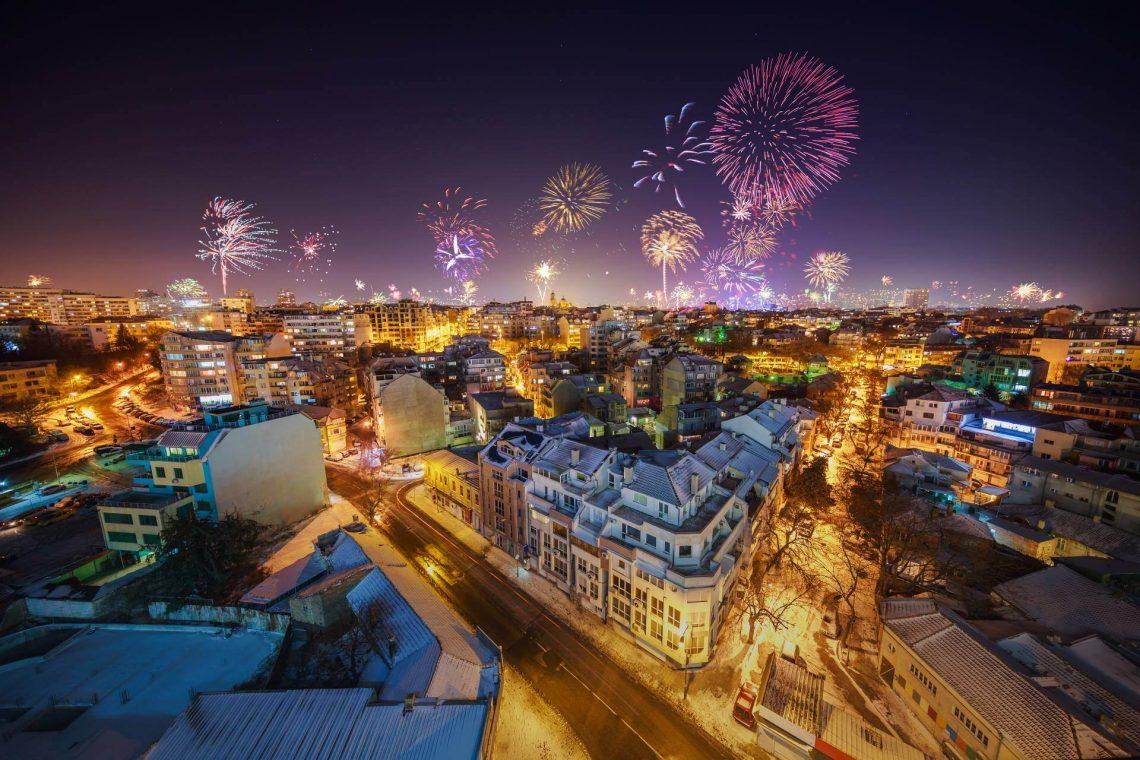 Feuerwerk an Silvester in Varna, Bulgarien